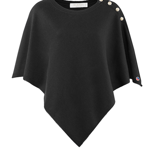 Busnel - Christiane Poncho - Layering Wool Piece - Black