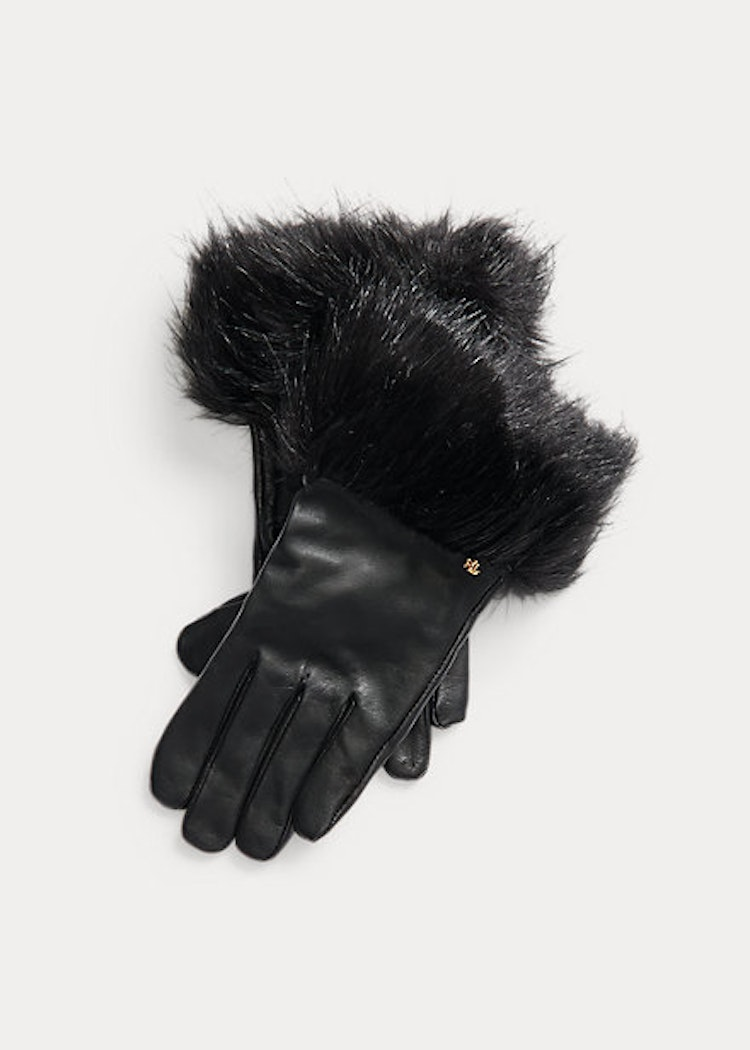 Ralph Lauren - Faux fur trim sheepskin tech gloves black - 999:-
