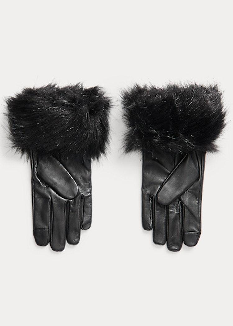 Ralph Lauren - Faux fur trim sheepskin tech gloves black - 999:-