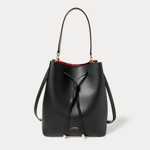 Ralph Lauren - Leather Debby Drawstring Bag - Black/Red