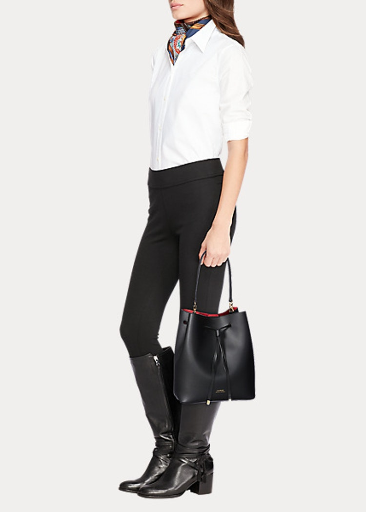 Ralph Lauren - Leather Debby Drawstring Bag - Black/Red