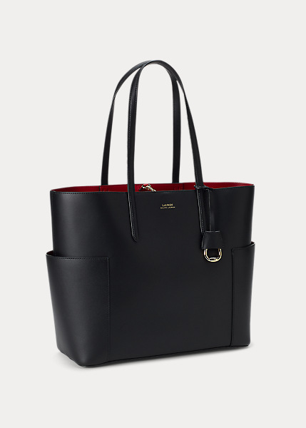 Ralph Lauren - Large Leather Carlyle Tote - Black/Crimson