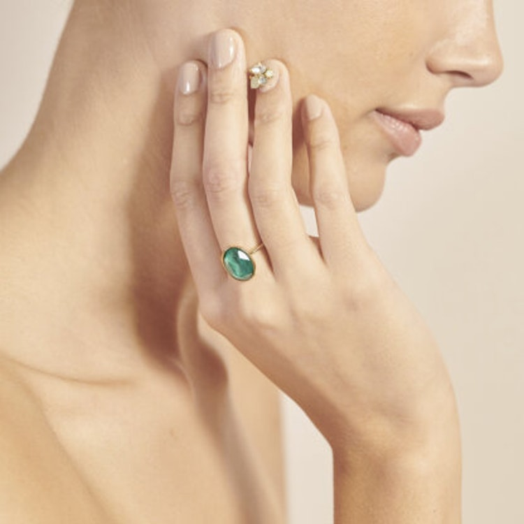 Lily and Rose - Astrid oval ring - Royal green