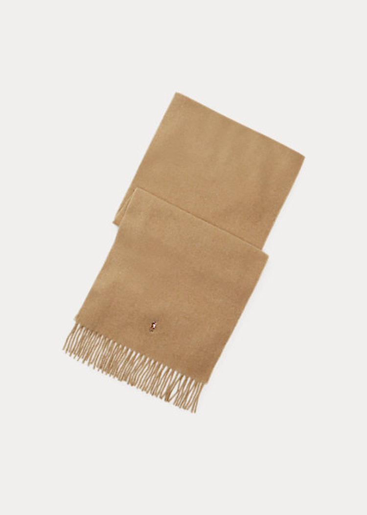 Ralph Lauren - Fringed Virgin Wool Scarf - brown hthr