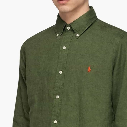 Ralph Lauren - Costum fit linen shirt green