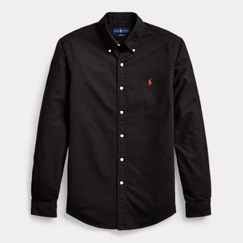 Ralph Lauren - Slim fit garment dyed Oxford shirt - Black/Red