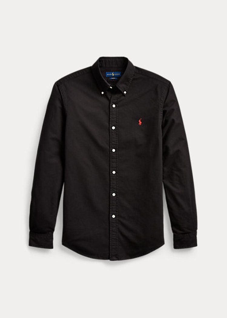 Ralph Lauren - Slim fit garment dyed Oxford shirt - Black/Red