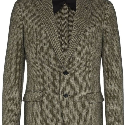 Ralph Lauren - Single-breasted herringbone blazer black