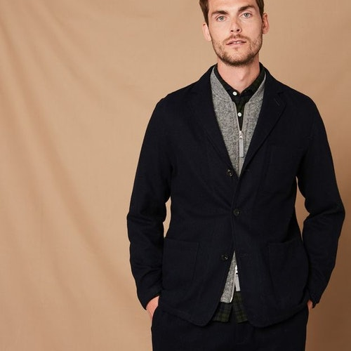 Hartford - Jobs unstructured wool jacket - Navy