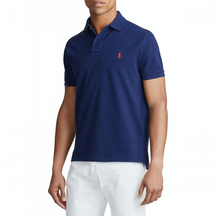 Polo Ralph Lauren - Custom Slim Fit Mesh Piké Blå