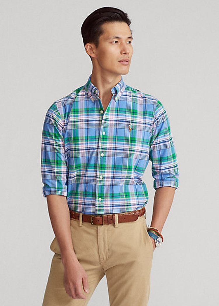 Ralph Lauren - Custom Fit Plaid Oxford Shirt - Blue/Pink Multi
