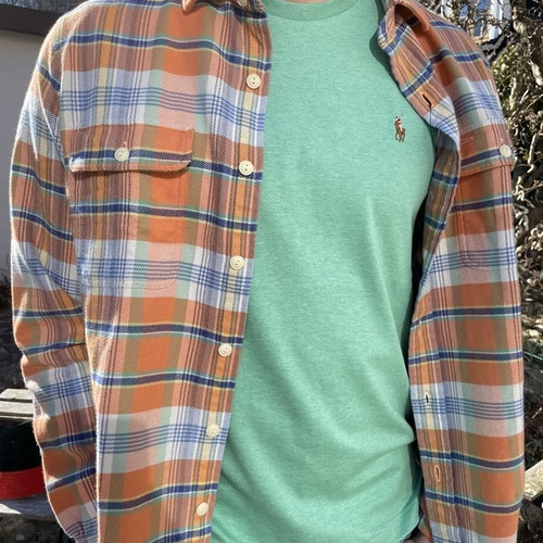 Ralph Lauren - Custom Fit Plaid Twill Workshirt - Orange/Green Multi