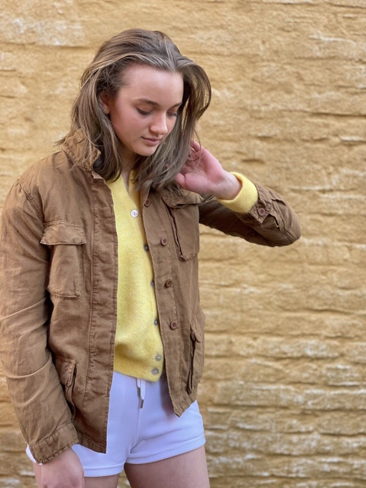 Hartford - Vea faded linen cotton jacket - Amber/Caramel