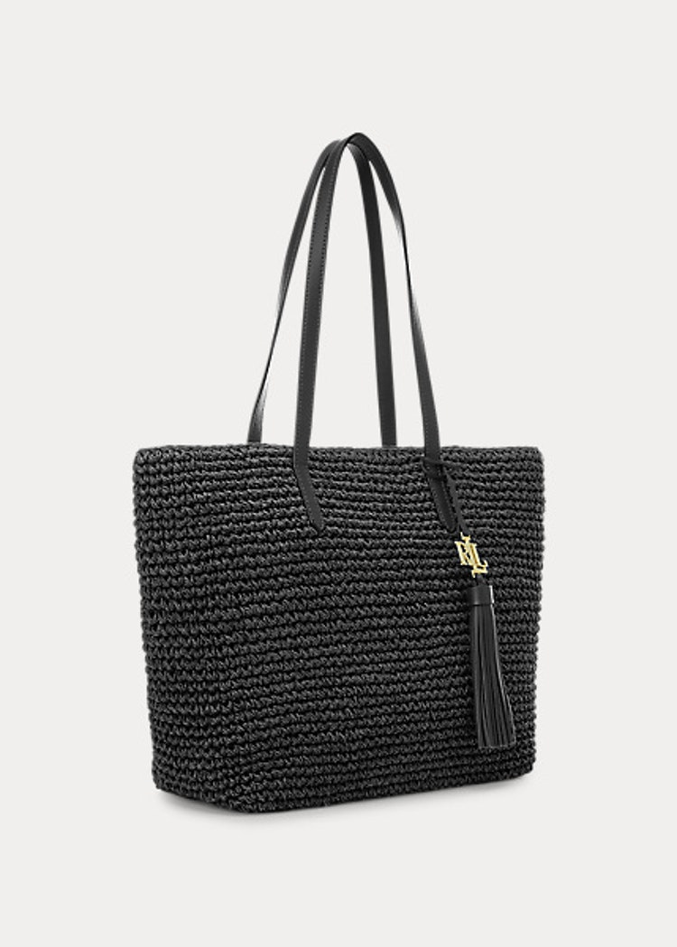 Ralph Lauren - Lauren - Crochet-Straw Medium Whitney Tote - Black