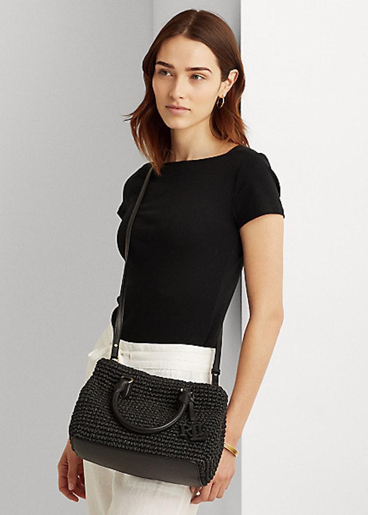 Ralph Lauren - Lauren - Crochet-Straw Mini Marcy II Satchel - Black