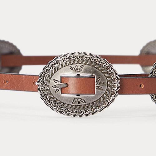 Ralph Lauren - Leather Concho Skinny Belt - Cuoio
