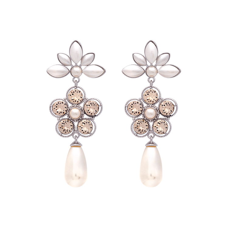 Lily and Rose - AURORA PEARL EARRINGS – IVORY SILK