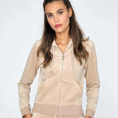 Juicy Couture - Classic Velour Robertson Zip Hoodie - Warm Taupe