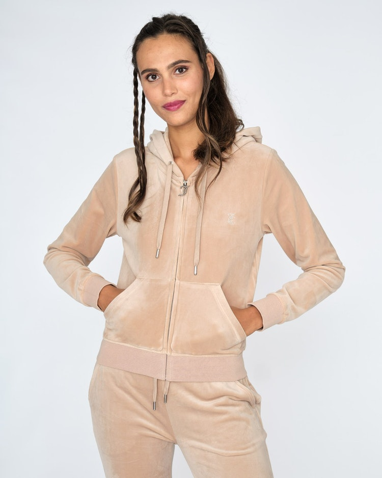 Juicy Couture - Classic Velour Diamante Robertson Zip Hoodie - Warm Taupe