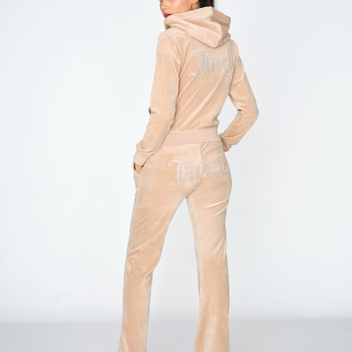 Juicy Couture - Classic Velour Diamante Del Ray Pant - Warm Taupe