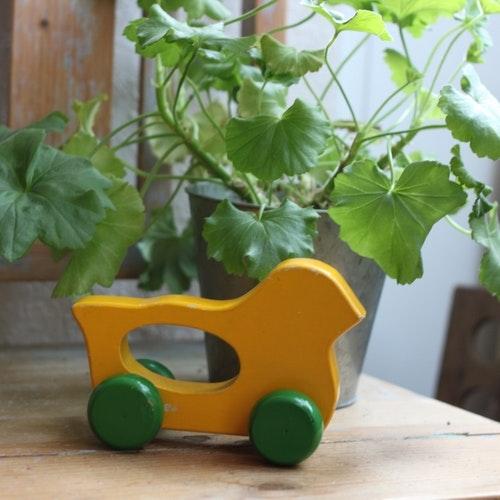Leksak - Fågel med Hjul Gul Grön