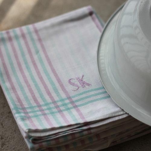 Handduk - Bomull Monogram SK Lila Grön
