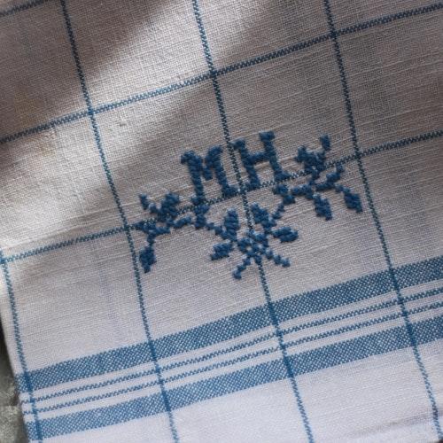 Handduk - Bomull Monogram MH Blå