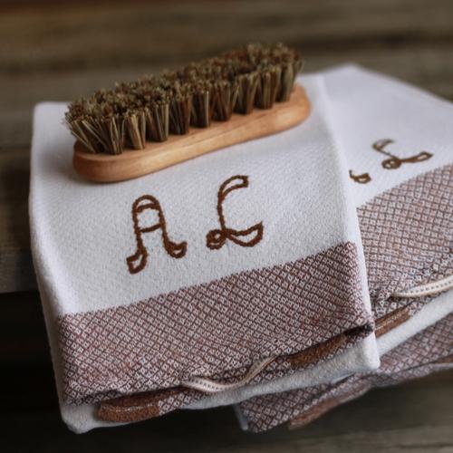 Handduk - Bomull Monogram AL Brun