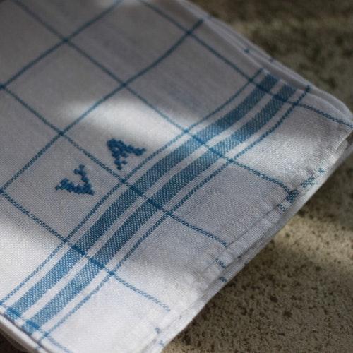 Handduk - Bomull Monogram VA Blå