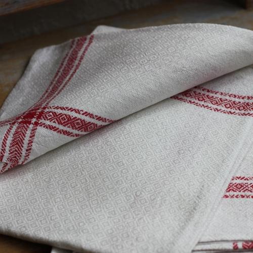 Handduk - Linne Monogram LHS Röd
