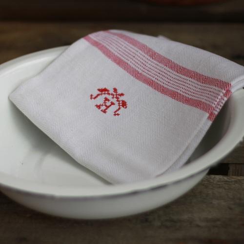 Handduk - Linne Monogram K Röd