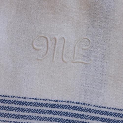 Handduk - Linne Monogram ML Blå