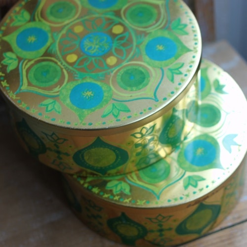 Plåtburk - Guld Grön