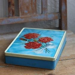 Plåtburk - Ljusblå med Blommor