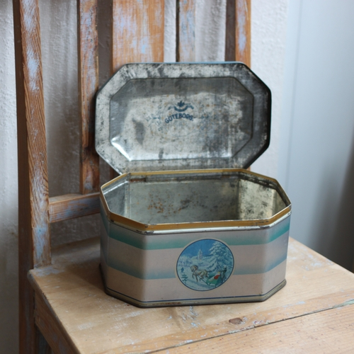 Plåtburk - Julmotiv Silver Blå