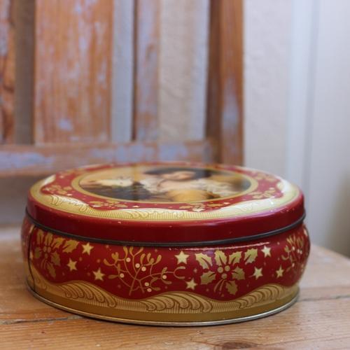 Plåtburk - Jul Röd Guld med Porträtt