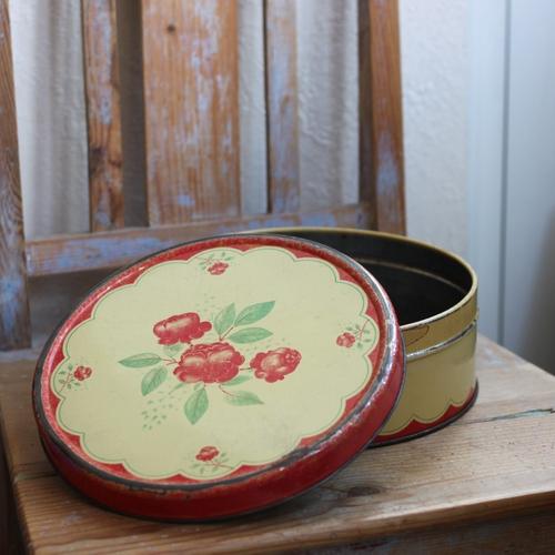 Plåtburk - Gul Röd med Blommor