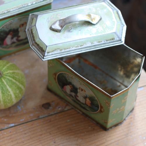 Plåtburk - Grön med Handtag och Motiv