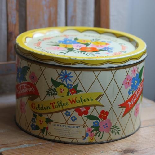 Plåtburk - Gul Rutig Blommor