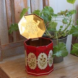 Plåtburk - Kaffeburk Röd Blommor