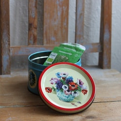 Plåtburk - Blå med Blommor