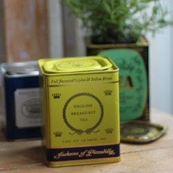 Plåtburk - Teburk Limegul med Dekor