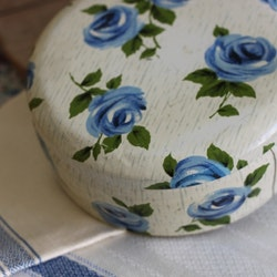 Plåtburk - Vit med Blommor