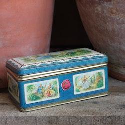 Plåtburk -Kista Blå Vit med Motiv