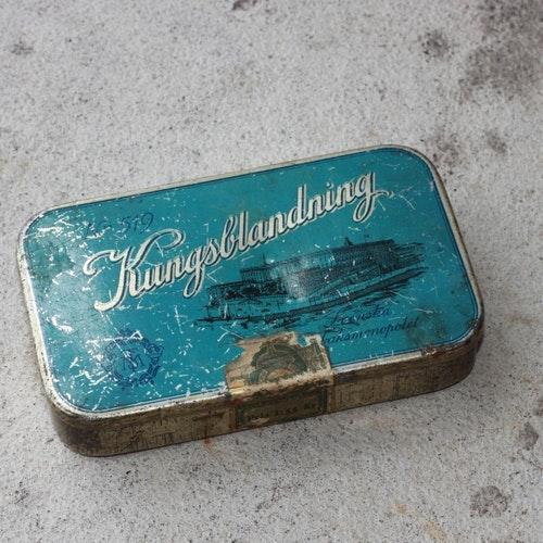 Plåtburk - Turkos Silverfärgad med Motiv