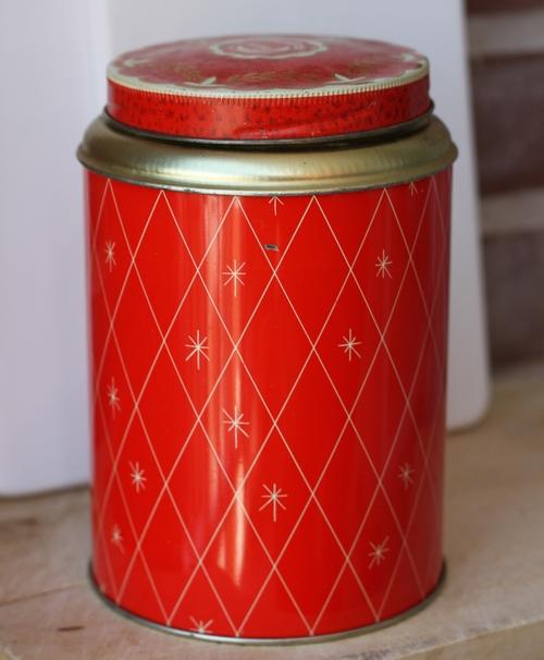 Plåtburk - Kaffeburk Röd Guld Rutig med Motiv