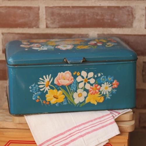 Plåtburk - Kista Blå med Blommotiv