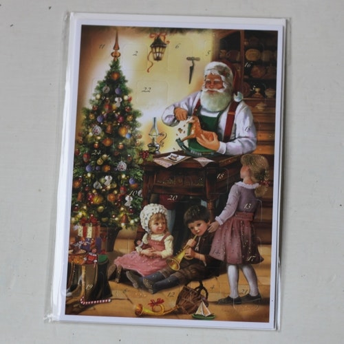 Adventskalender - Sittande Tomte, Kort med Kuvert