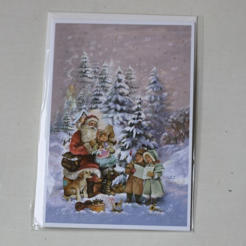 Adventskalender - Tomte sittande ute Kort med Kuvert