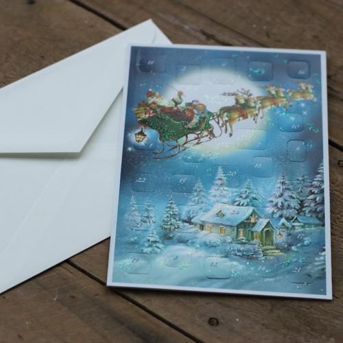 Adventskalender - Tomtens släde flyger Kort med Kuvert
